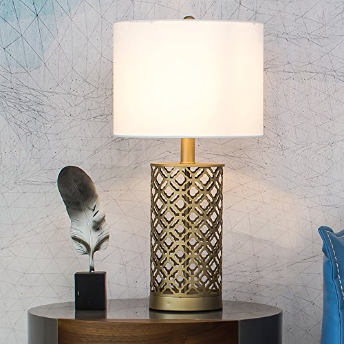 Wtape Golden Hollow Out Base Modern Style Bedroom Table Lamp, Living Room Desk Lamp with White Fabric Shade (Table Shade Fabric Lamp White)