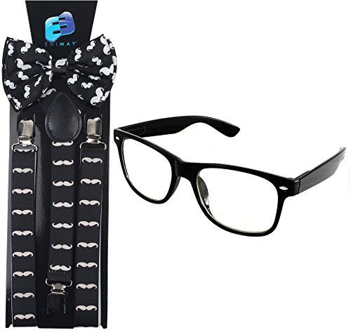 Enimay Suspender Bowtie Nerd Clear Glasses Nerd Costume Halloween (White Mustache) -