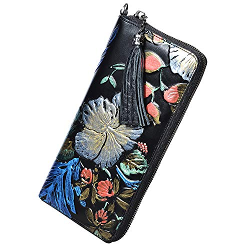 PIJUSHI Leather Wallets For Women Floral Wristlet Wallet Card Holder Purse 91792 (Black Floral)