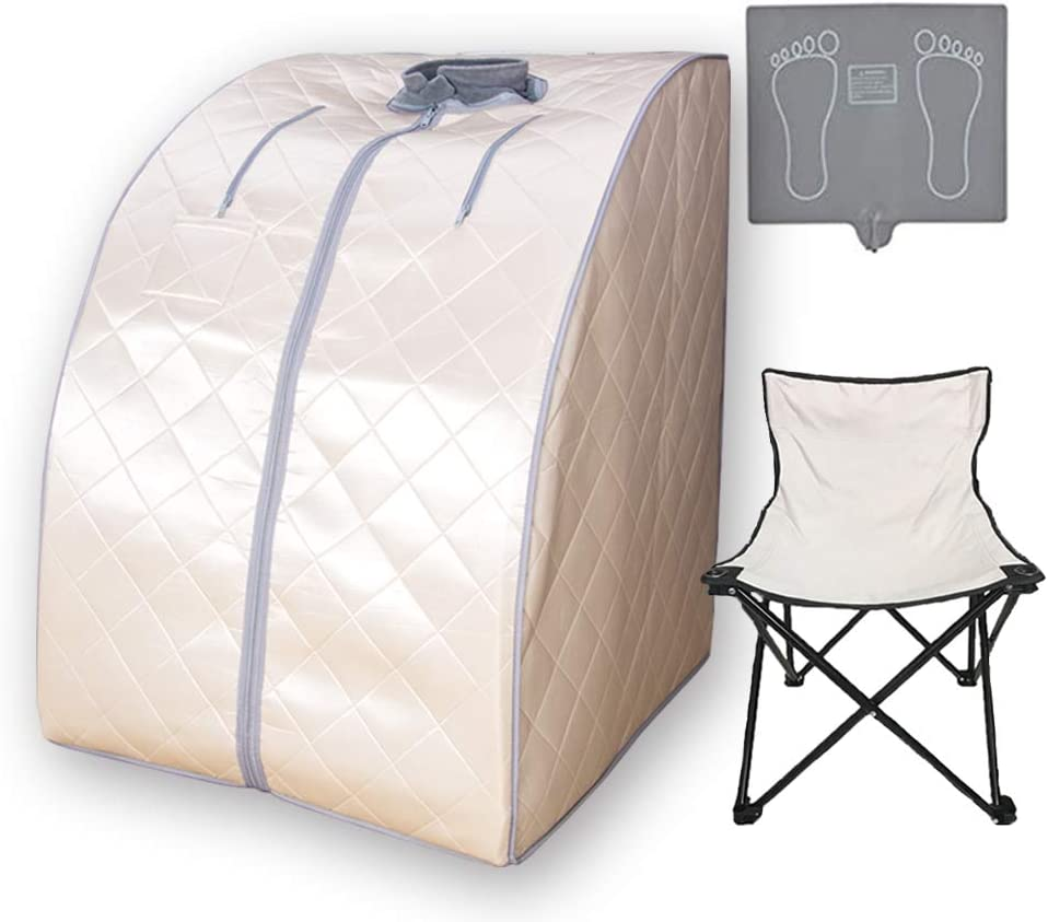 Smartmak Far Infrared Sauna X-Large, One Person Full Body at Home Weight Loss Oversized SPA Box with Upgraded Foot Pad and Reinforced Portable Chair- Beige
