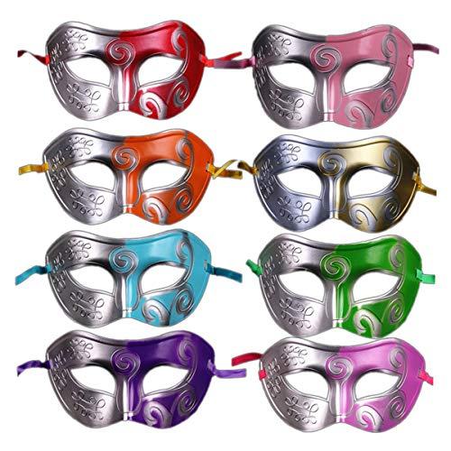Amosfun Masked Ball Mask Masquerade Mask Venetian Party Prom Ball for Halloween Masquerade Carnival Party Costume Ball (Mixed Color) 8pcs