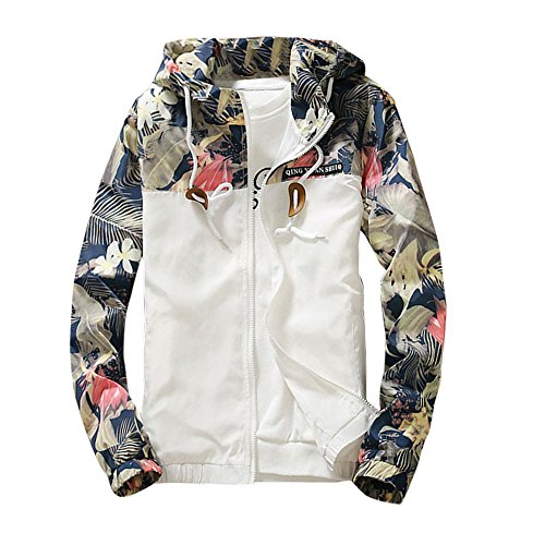 Mens Jackets Charberry Casual Sports Jackets Slim Stand Collar Jackets Fashion Sweatshirt Tops Casual Coat Outwear (US-M/CN-L, White) from Charberry Clothing
