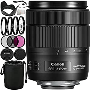 Canon EF-S 18-135mm f/3.5-5.6 IS USM Lens (White Box) 13PC Accessory Kit. Includes Manufacturer Accessories + 3PC Filter Kit (UV-CPL-FLD) + 4PC Macro Filter Set (+1,+2,+4,+10) + Lens Hood + Lens Pouch + Cap Keeper + Microfiber Cleaning Cloth - International Version (No Warranty)