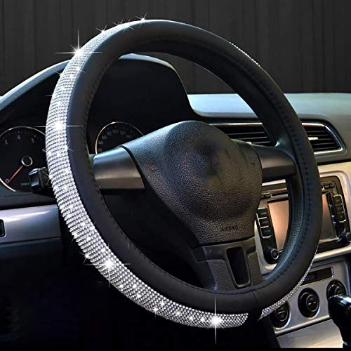 - dayutech Steering Wheel Cover Bling Bling Crystal Rhinestones Diamond Universal Fit 15 Inch Car Truck SUV Anti-Slip Leather Wheel Protector for Women Girls (15 inch, Bling Bling Black)