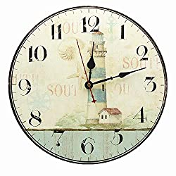 RELIAN Large Decorative Lighthouse Wall Clock,Silent Wall Clock Non Ticking for Living Room Kitchen Bathroom Bedroom Decor 14