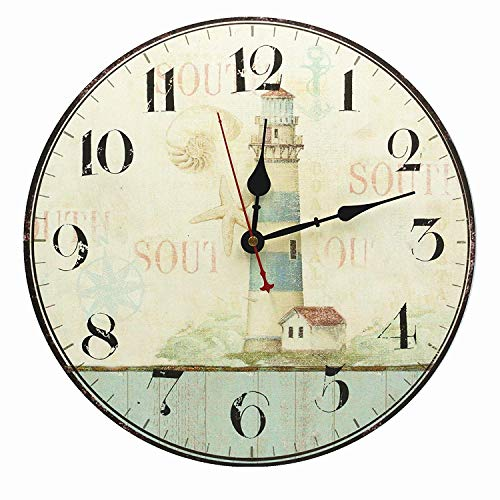 """RELIAN Large Decorative Lighthouse Wall Clock,Silent Wall Clock Non Ticking for Living Room Kitchen Bathroom Bedroom Decor 14"""""""