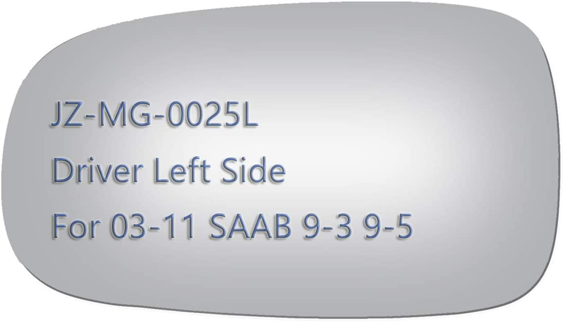 JZSUPER Side Mirror Glass For Saab 9-3 9-5 9-3X Passenger Right Side View RH Convex Replacement Non Heated Including Adhesive