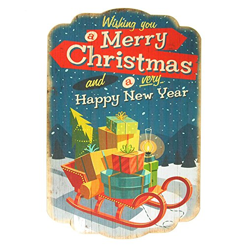 Homeford Vintage Styled Christmas Printed Wooden Wall Plaques, 16-Inch x 24-Inch (Sleigh with (Styled Sleigh)