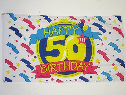 HAPPY 50TH BIRTHDAY FLAG 3' x 5' - 50TH BIRTHDAY'S PARTY FLA