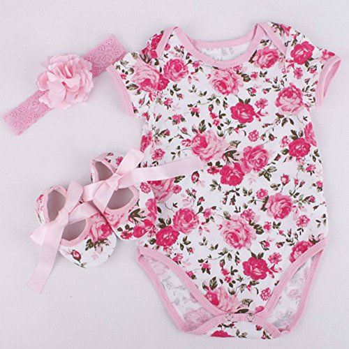 Rose Pattern Romper Clothes Headband Shoes Set for 20-22 Inch Reborn Newborn Baby Doll Matching Clothing Kids Birthday Toys 0-3M