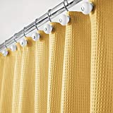 Yellow Shower Curtain mDesign Hotel Quality Polyester/Cotton Blend Fabric Shower Curtain with Waffle Weave and Rustproof Metal Grommets for Bathroom Showers and Bathtubs - 72