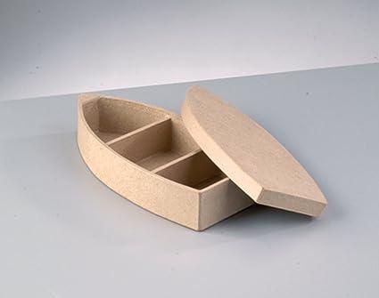 Barco de forma de la caja de papel maché para decorar 21 x 10 x 4