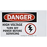 "SmartSign Adhesive Vinyl OSHA Safety Sign, Legend ""Danger: High Voltage Turn Off Power"", 3.5"" high x 5"" wide, Black/Red on White"