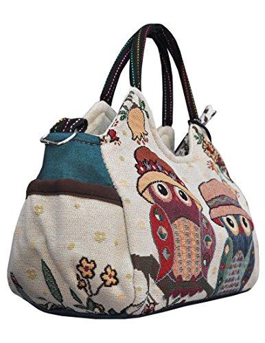 Eule Eulen Tasche Handtasche Henkel ***EULENPAAR MIT HUT UND VERSPIELTEN ACCESSOIRES*** - cremeweiß- Shoppertasche Schultertasche Eulenmotiv Umhängetasche - VINTAGE LOOK / absolut cool und stylish