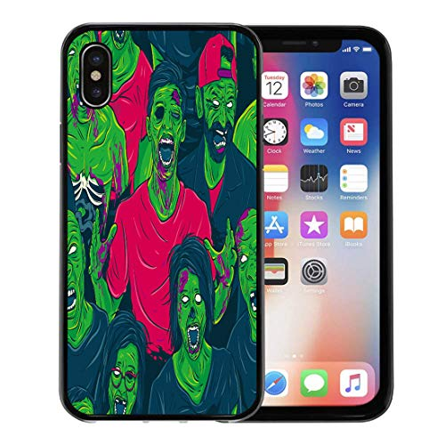 Semtomn Phone Case for Apple iPhone Xs case,Colorful Pattern Zombie Walking Out Halloween Retro Graphic Fun Scary for iPhone X Case,Rubber Border Protective Case,Black ()