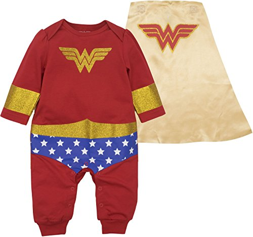 Warner Bros. Wonder Woman Baby Girls' Costume Coverall with Cape (3-6M) Red]()