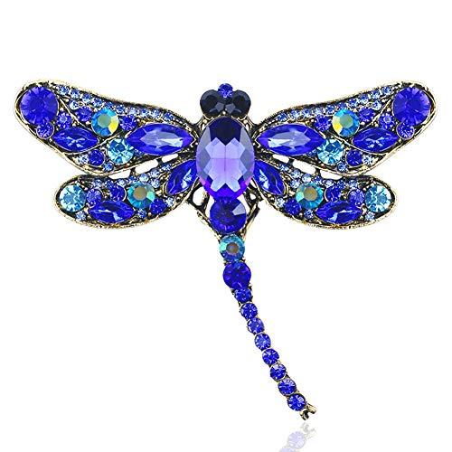 (AILUOR Multi-Colors Wing Dragonfly Brooch Pin, Austrian Crystal Rhinestone Dragonfly Necklace Women Jewelry Wedding Bouquet Brooch)