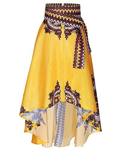 Femmes Demi Jupe Corps, Nouvelle Robe de Bal Imprime Africaine Robe Longue Soire Jupe Maxi Jaune