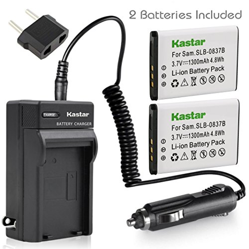 Kastar Battery X2 & AC Travel Charger for Samsung SLB-0837B SLB-0837(B) Samsung Digimax L70 Digimax L83T L85T Samsung Digimax L201 L301 Digimax NV8 Digimax NV10 Digimax NV15 Digimax NV20 Digimax SL201