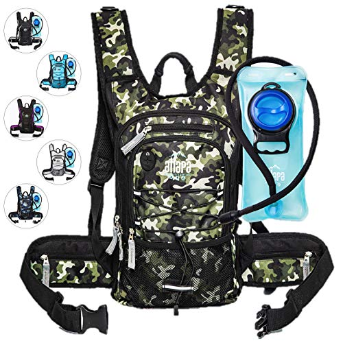 - Atlapa Sports Lightweight Hydration Backpack 2L TPU Leak Proof Water Bladder Insulated Pocket Cold Storage Padded Shoulder Adjustable Straps Day Pack Hiking Skiing Running Cycling Green Camouflage