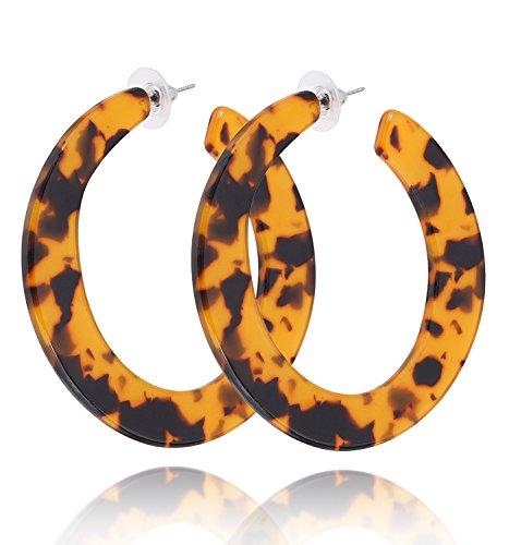 (MOLOCH Rattan Earrings for Women Handmade Straw Wicker Braid Hoop Earrings Lightweight Wire Drop Dangle Earrings Fashion Jewelry (Mottled))