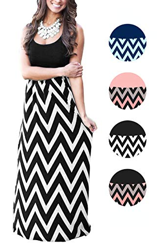Womens Tank Top Long Maxi Dresses Summer Boho Empire Chevron Tank Top Casual Beach Dresses (A-Black, XX-Large/US(18-20))