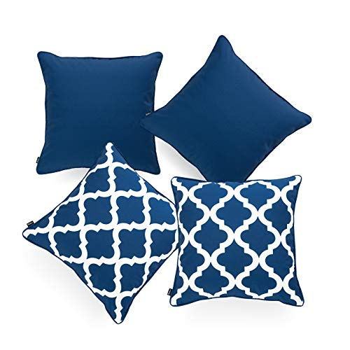 Hofdeco Indoor Outdoor Pillow Cover ONLY, Water Resistant for Patio Lounge Sofa, Navy Blue White Solid Moroccan, 18