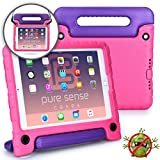 Pure Sense Buddy Kids Case Compatible with iPad 6, iPad 5, iPad Air 1, iPad Air 2, iPad 9.7 2017 2018 | Anti Microbial Shock Proof Cover for Kids | Boys, Girls | Shoulder Strap, Handle & Stand (Pink)