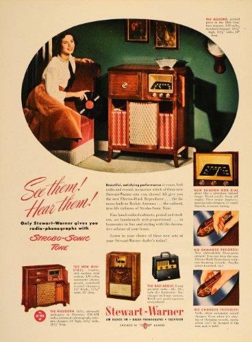 1948 Ad Stewart Warner Radio Phonograph Allegro Console Media Entertainment - Original Print Ad (Radio Stewart Warner)