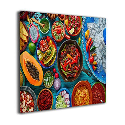"Mexican Food Mix Background Oil Paintings On Canvas Modern Square Stretched and Framed Artwork Ready to Hang Wall Art for Home Office Wall Decor 16""x16"""