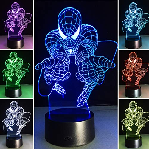 3D Night Lights for Kids 7 Colors 3D LED Illusion Lamp with Remote Control-Bedroom Table Lamp(Spiderman)