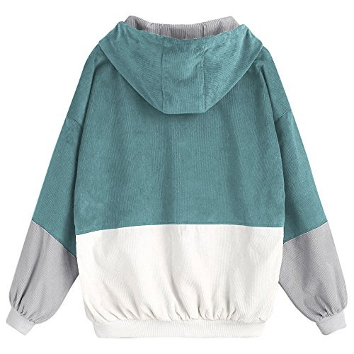 Donna Bottoni A Zip Zaful Capispalla Patchwork Blu Verde Con Cappotto Sciolti Top Giacca Outwear dBWxqxFn