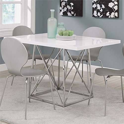 Price comparison product image Monarch I 1046 36 by 48-Inch Dining Table,  White Glossy / Chrome Metal
