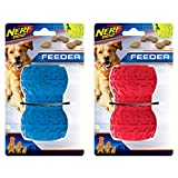 Nerf Dog (2-Pack Tire Treat Feeder Dog Toy, Red/Blue, Large