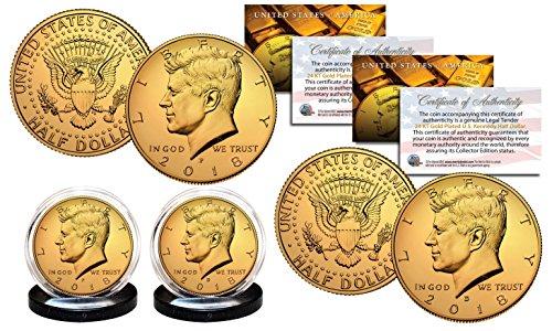 - 2018 24K GOLD Clad JFK Kennedy Half Dollars 2-Coin Set P&D MINT w/COA & HOLDERS