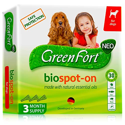 Green Flea Treatment - Flea and Tick Prevention for Dogs and Cats - Natural Flea Treatment for Pets Kittens Puppies - 100% Immediate Super Effect - 3 Months Supply - Flea and Tick Repellent Control