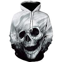 Yd-zx Men's 3D Digital Skull Printed Hoodies Sweatshirt Long Sleeve Loose Hoodie Sweater