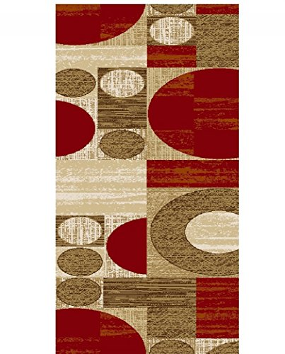 Adgo Collection, Modern Contemporary Rectangular Design Rubber-Backed Non-Slip (Non-Skid) Area Rugs| Thin Low Profile Indoor/Outdoor Floor Rug (20