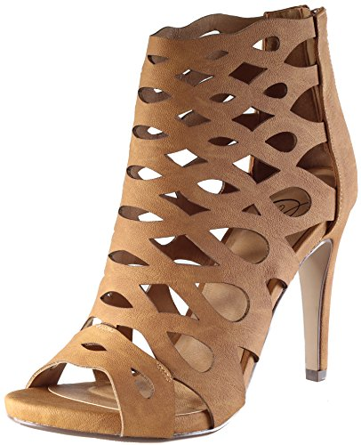 Soda Women's Oncall Laser Cutout Caged Stiletto Heel Ankle Bootie