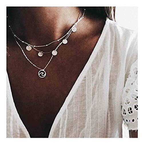 Yfe Sequins Necklace Choker Silver Wave Neckalce 3 Layer Pendant Necklaces for Women and Girls Jewelry (Silver 1)
