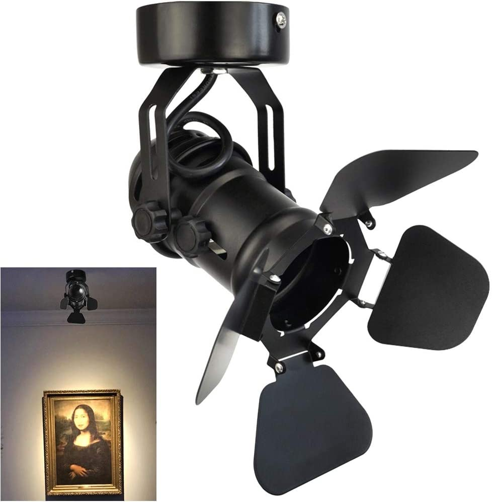 Industrial Vintage Ceiling Spotlight Lamp, Adjustable Black Wall  Lamp/Ceiling Light Barn Door Design LED Spot Lights Indoor Lighting for  Hallway Art Light Stage Spotlight Living Room Theatre Lamp - - Amazon.comAmazon.com