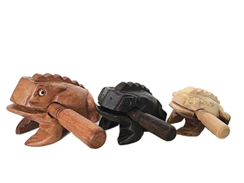 Percussion Instruments Wooden Frog 3 Piece Set of 4 Inch Brow Frog, 3 Inch Black Frog, 2 Inch Natural Wood Frog, Products From Thailand,wooden frog musical instrument. by WADSUWAN SHOP