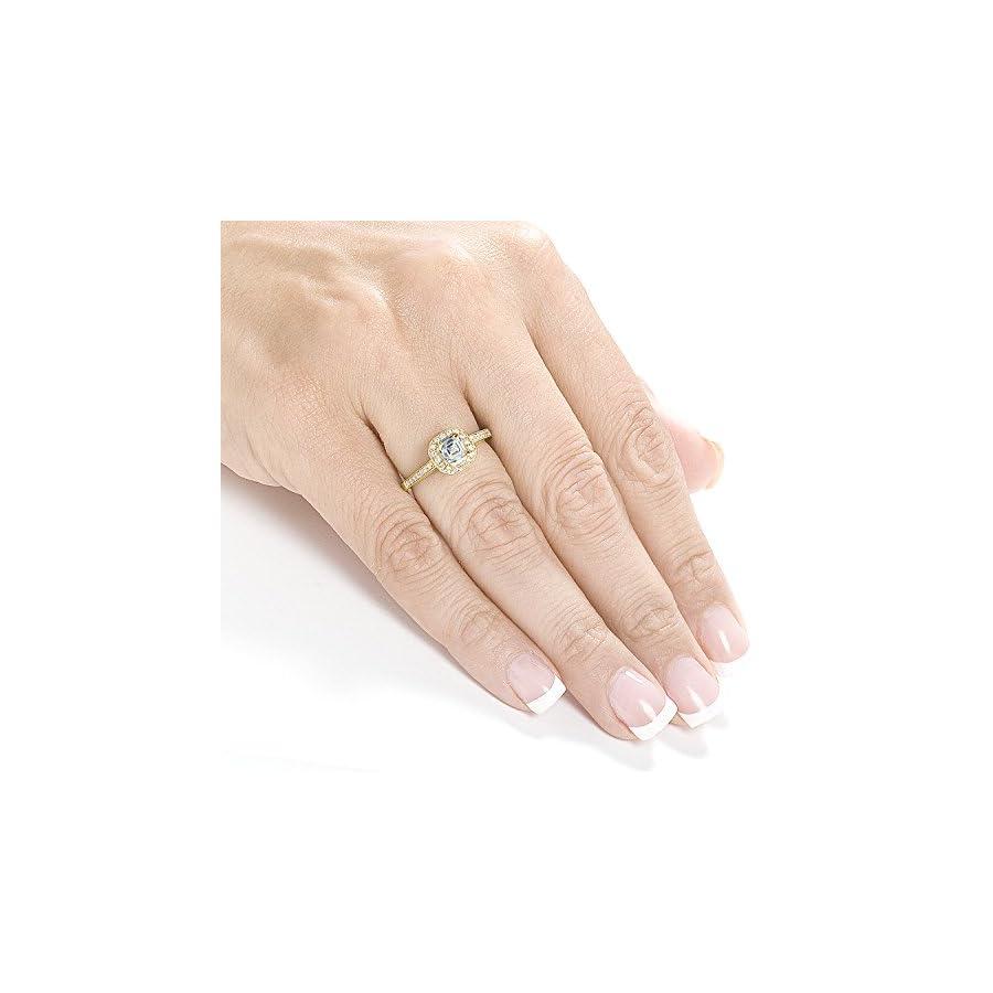 Asscher Cut Diamond Engagement Ring 1/2 Carat (ctw) in 14K Yellow Gold