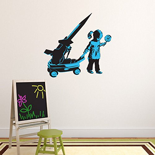 Girl and War Wagon Banksy Wall Decal by Style & Apply - Wall Sticker, Vinyl Wall Art, Wall Applique, Home Decor Mural - BD1030 - 39in x - Wagon Applique