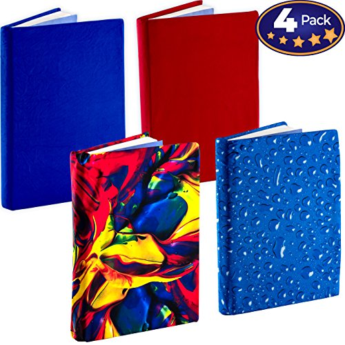 Jumbo, Stretchable Book Cover Color 4 Pack. Fits Most Hardcover Textbooks up to 9 x 11. Adhesive-Free, Nylon Fabric Protectors are A Needed School Supply for Students. (Bold 1) by Eucatus