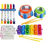 EVERJOYS Bath Time Playing Musical Toys Set Gift Box Play Together Teamwork Melody Flute Beating Dru