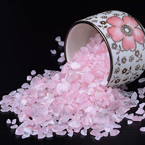 Rose Stones, Crystals Gravel Quartz Tumbled Stone Pink Pebble Irregular Shaped Stones for Vase Filler, 1 Pounds(approx 800) (Clear Quartz Chips)