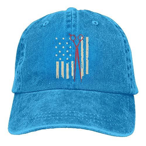 Gorgeous products Men's/Women's American Hair Stylist Flag and Scissors Denim Fabric Baseball Cap Adjustable Street Rapper Hat]()