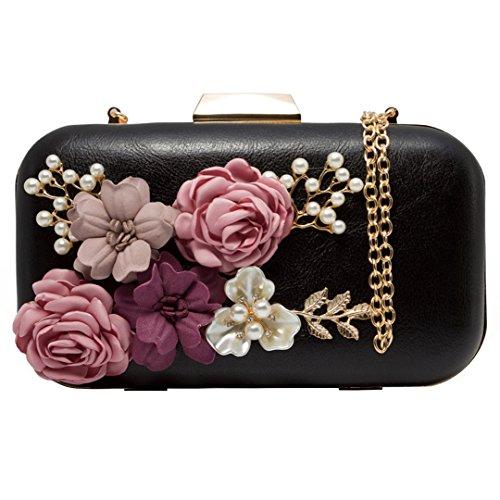 Women Clutches Purses Bags Flower Envelope Beaded Prom Wedding Evening Handbag (Black) ()
