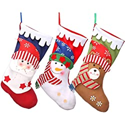"3 PCS Christmas Stockings 18"" Xmas Party Mantel Decorations Ornaments - Santa Snowman Bear Style"